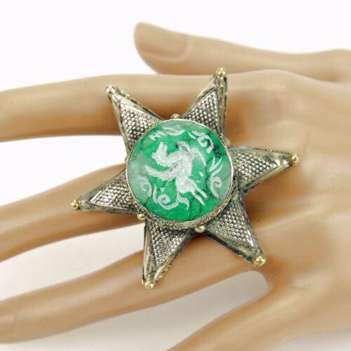 851f7 RING Kuchi Handmade BellyDance Tribal sz 8,9,11,13,14 STAR Malachite