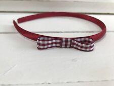 Burgundy Satin /& Gingham Triple Bow Alice Band Hairband Headband School Uniform