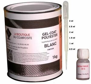 1kg. de GEL COAT POLYESTER ISO. blanc + catalyseur & pipette doseuse.