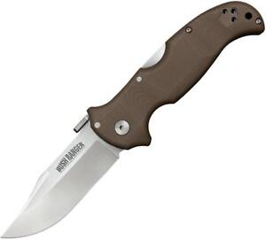 Cold-Steel-Bush-Ranger-Pocket-Knife-Plain-edge-Clip-Point-Brown-GRN-Handle-31A