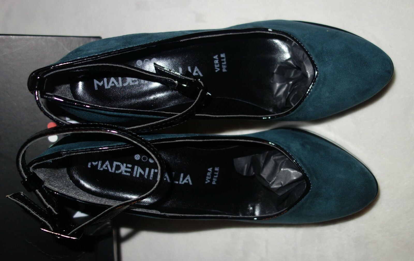 Made Made Made in Italia Platform Pumps petrol Suede black trim shoes  Size 40 new 88553c