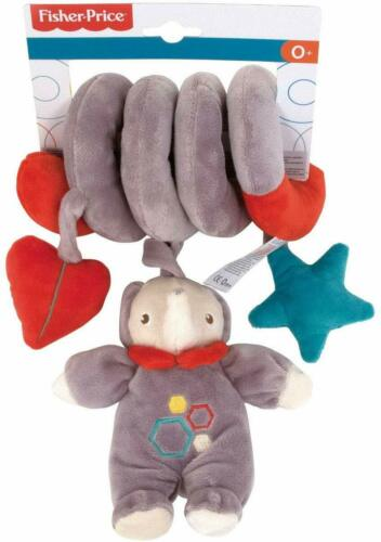 Fisher Price Newborn Baby Soft Plush Elephant Teddy Toy Spiral With Rattle 32cm