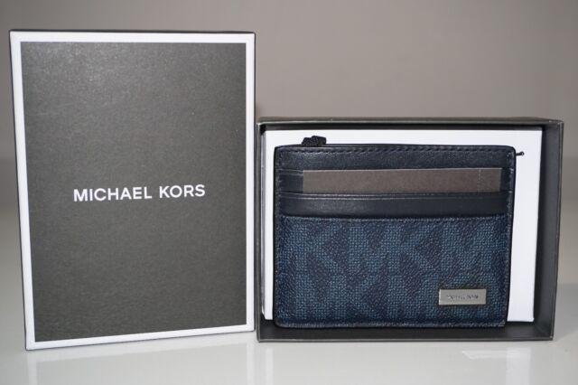 f4ccb9ca4e93 Michael Kors Mens Jet Set PVC Leather Tall Card Case Wallet Baltic ...