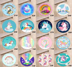 Magical-Happy-Unicorns-Circle-Velboa-Rug-Non-slip-Kids-039-Room-Doormat-Carpet-Mat