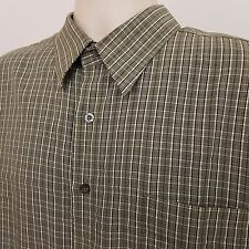 Woody's Retro Lounge Shirt Men's Size Large Green Plaid Checks Short Sleeve