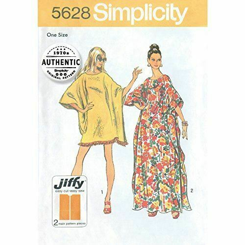 Simplicity Sewing Pattern 5628 Misses Vintage Dresses Caftan One Size