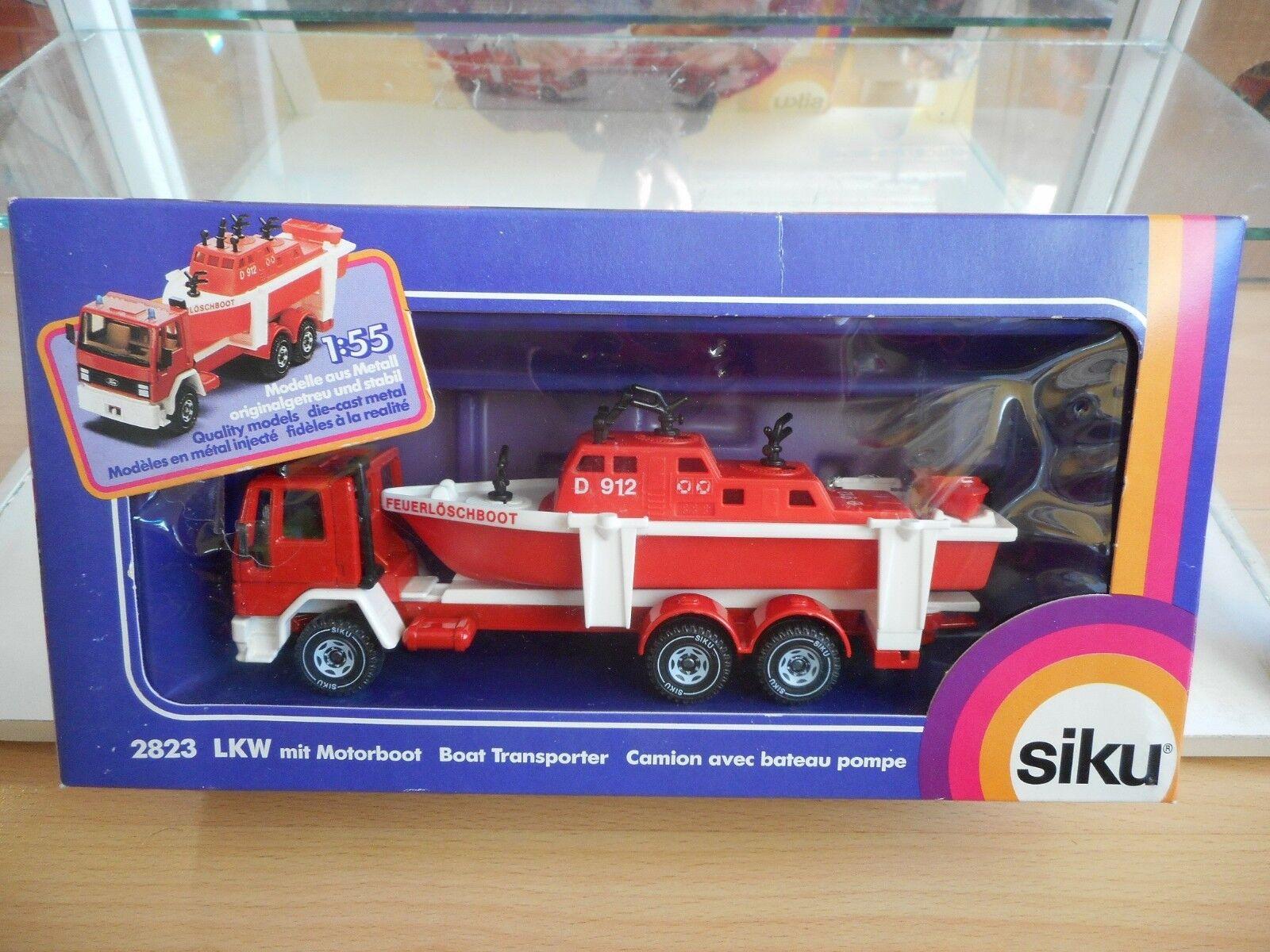 Siku Ford Cargo Fire Fire Fire brigade + Boat in Red White in Box (Siku nr  2823) 0ff6d6