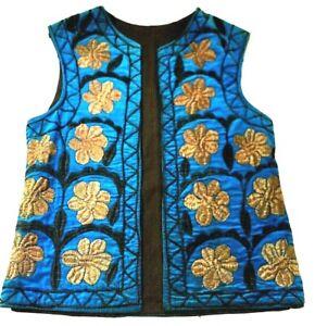 S brodé Uuzbek Ethnique Vintage Festival Womens Boho Beige Bleu Floral Vest UvUZqnRO