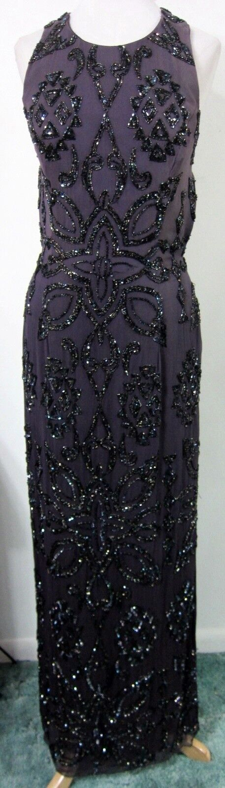 Purple 10 Fully Beaded EVENING GOWN Prom Dress Formal Pageant Gala Ball