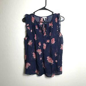 Joie Size Small Floral Blouse Blue Pink Cap Sleeve Ruffle Feminine Romantic