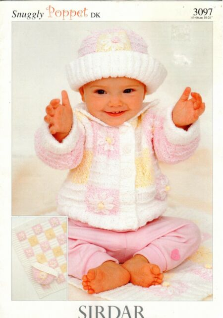 Sirdar Baby Knitting Pattern Snuggly Poppet Dk Sweater Hat Blanket