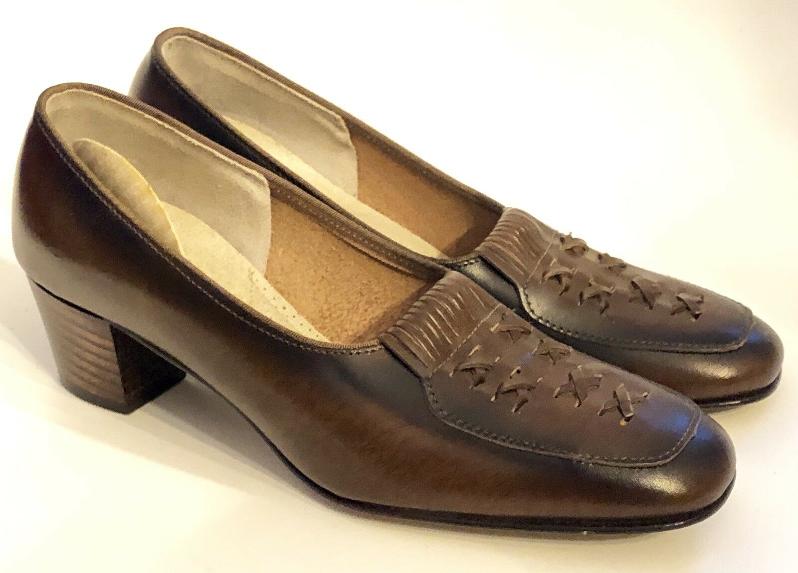 West-Ettes True Vintage 6.5 M Dark Brown Leather Heels Mid Century Ombre Classic