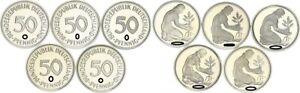 50 Pfennig 1992 A,D,f,g,J 5 Münzen komplett PP 56690