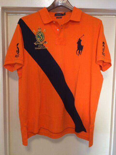 Ralph Lauren Large L Blue Mesh Polo Shirt Classic Fit Orange PRL NWT