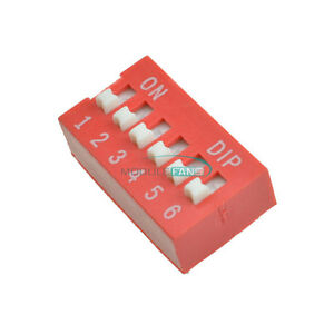 10pcs Pitch 6-Bit 6-Positions Way Slide Type DIP Switch Module NEW Red 2.54mm