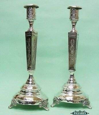 Fine Pair Of Silver Plated Sabbath Candlesticks Poland Warsaw Ca 1900