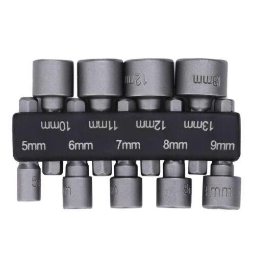 9Pcs Steel Impact 1/4 Hex Magnetic Nut Driver Set Metric Socket Power Drill Bit
