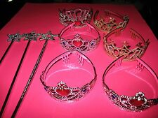 5 CROWNS AND 3 WANDS - COSTUME - PLASTIC - SILVER - NEW