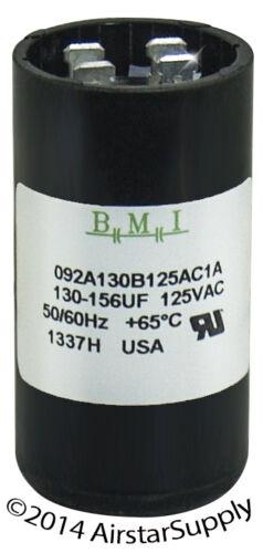 130-156 uF x 110 125 VAC • BMI # 092A130B125AC1A Motor Start Capacitor • USA