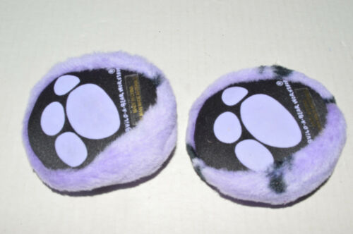 Build A Bear Shoes~Slippers~Purple Plush With Black Paw Prints