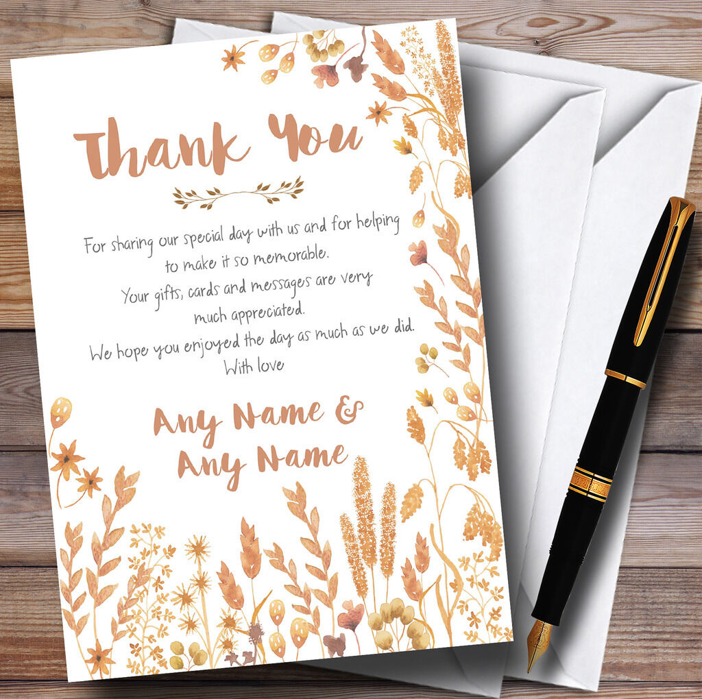 Golden Autumn Leaves Watercolour Personalised Wedding Thank You Cards