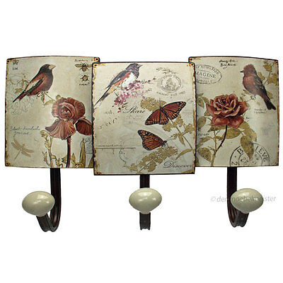 Nostalgie Garderobenhaken Haken Wandhaken Kleiderhaken Vögel Blumen Flur Metall