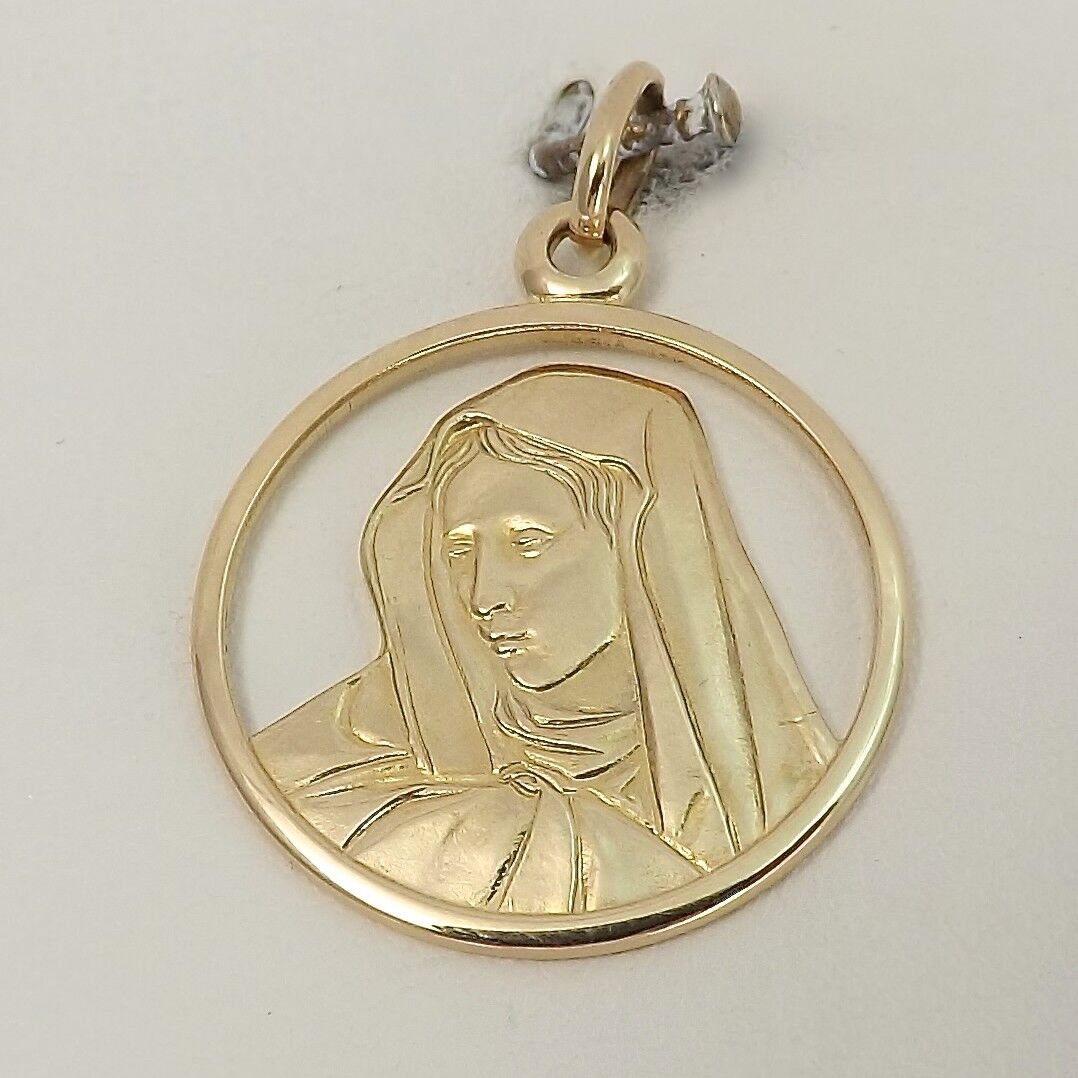 14K gold Mawomen Mother of Sorrows Mary Cut Out Medal Charm Pendant 4.2gr