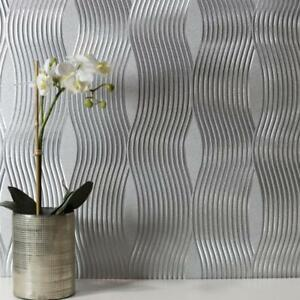 Arthouse Metalizado Onda Vinilo Metálico Papel Pintado Texturizado Plata