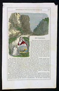 1857 Sears Antique Print & Text of New Hampshire, USA