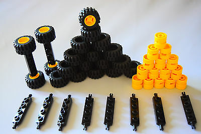 20 BLACK Tires 20 Yellow Rims 10 Black Axles 5 Big ☀️NEW LEGO Car Parts 50Pcs
