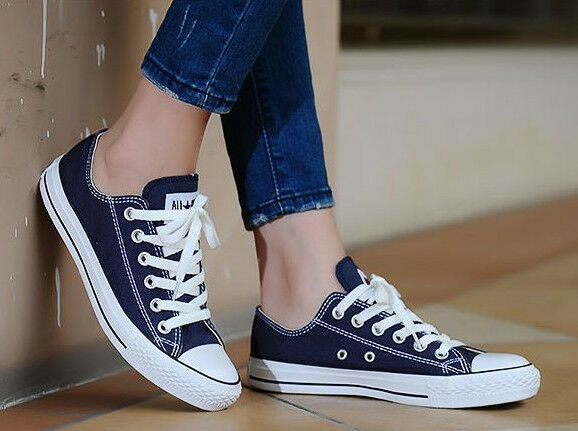 Converse Womens Shoes Navy All Star Chuck Taylor LOW Top OX Navy Sneaker NEW