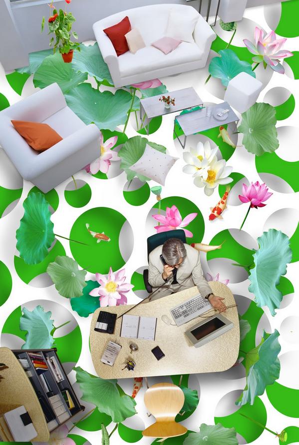 3D Lotusblatt 538 Fototapeten Wandbild Fototapete Tapete Familie DE Lemon