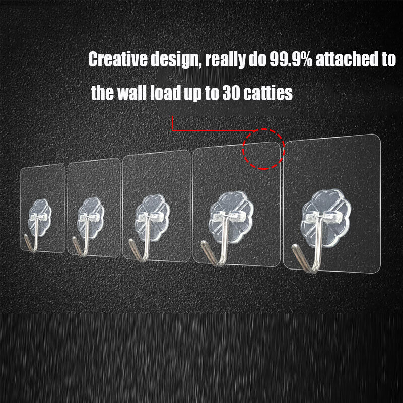 Removable Self Adhesive Hooks Wall Door Plastic Hook Strong Sticky Tool 2020