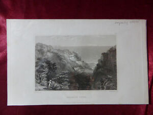 Antique engraving VIEW of SHANKLIN CHINE, ISLE OF WIGHT c1830 Landscape print