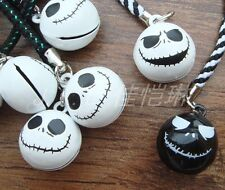 Lot Jack Skellington Skull Head Brass Jingle Bell Pendant Charms Chain straps