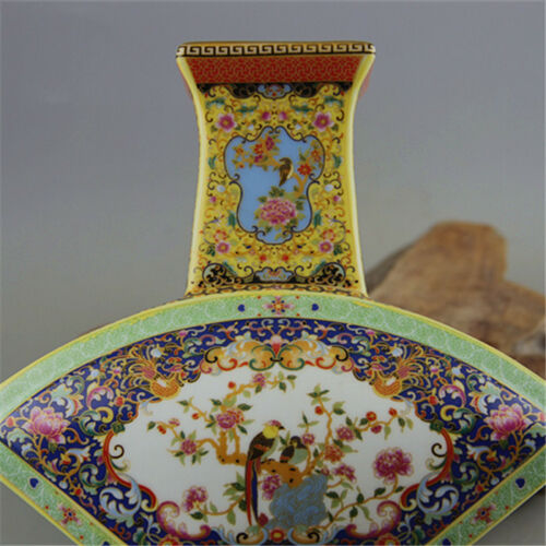 China antique Porcelain colour enamels QING YONGZHENG Flowr bird Fan bottle vase