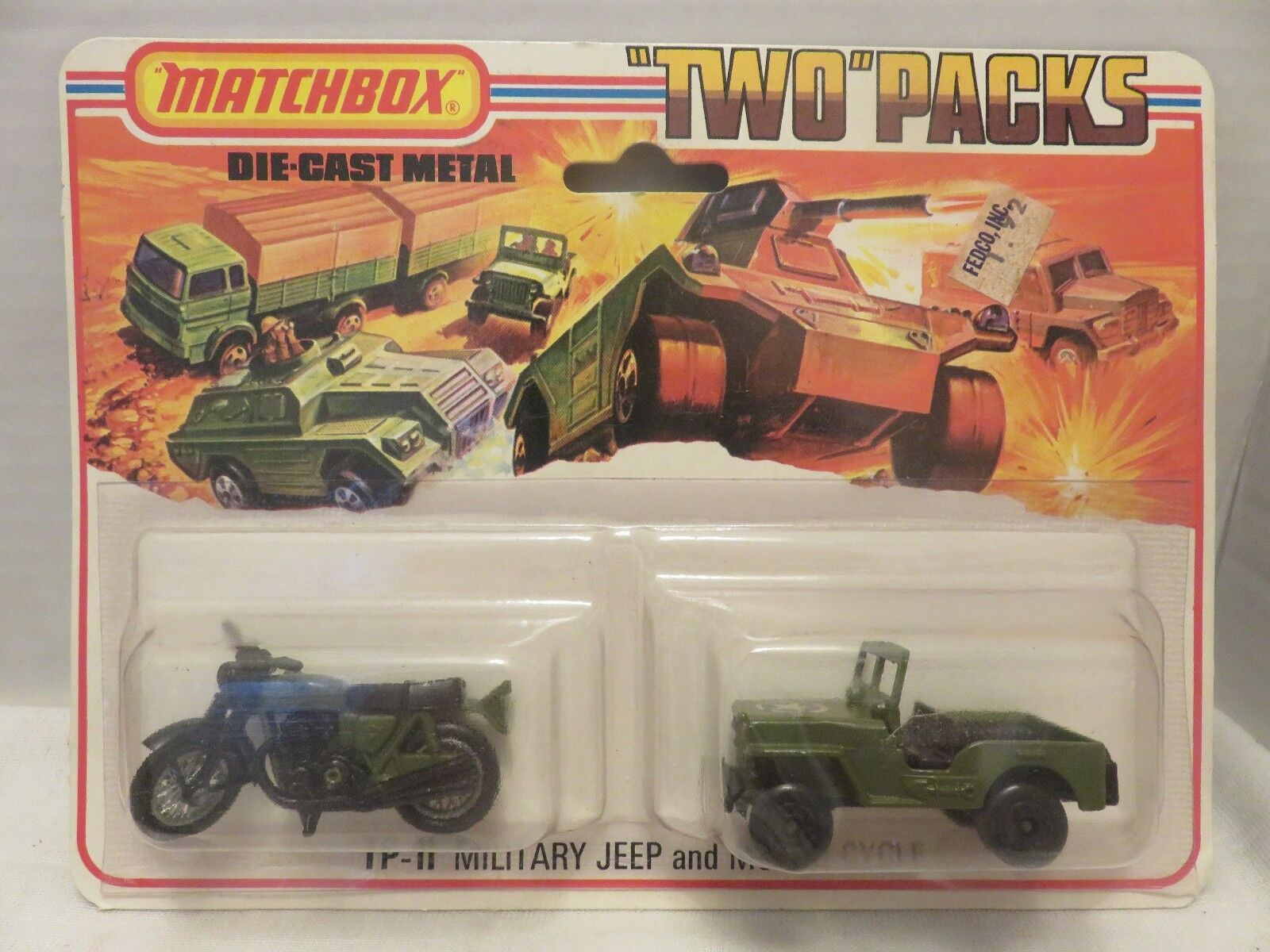 1976 paquetes de dos Matchbox Militar Jeep Motor ciclo TP-11 Die-cast Metal Inglaterra B