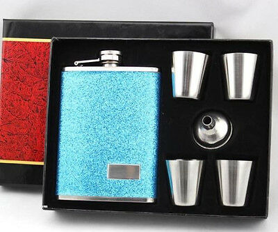 Hot 8oz Stainless Steel dull polish Liquor Hip Flask with Funnel Set wine glass