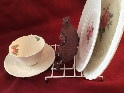 JES Co England 5 Piece Display Stand White or Brassed  Plates Bowl Cup Saucer