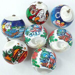 Christmas-Bauble-Ball-ornament-decoration-Faux-silk-Nylon-White-Bulk-Vintage