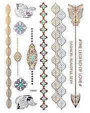 GOLD Tattoo Flash Tattoos Pfeile Armbänder Ornamente Schmetterlinge YS-80