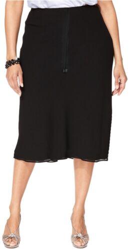 Femme Entièrement Doublés Georgette jupes mi-mollet taille élastique Faux liens Couleurs