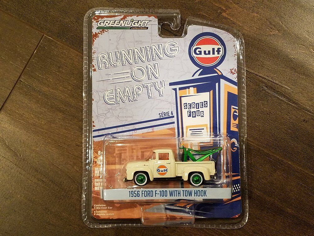 GREENLIGHT 1 64 RUNNING ON EMPTY 1956 FORD F-100 W TOW HOOK GULF OIL 41040 CHASE