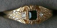 12 Ladies 18kt. Gold Overlay Green Crystal Design Rings In Size 9