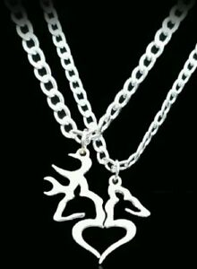 40ebfadca1 Her Buck His Doe Heart Necklace 2 PC Set Browning Interlocking Deer ...