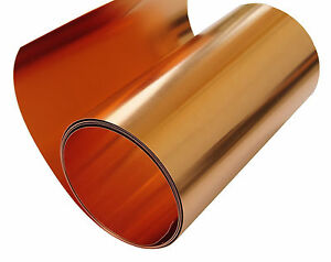"Copper Sheet 10 mil/ 30 gauge tooling metal roll 36"" X 4' CU110 ASTM B-152"