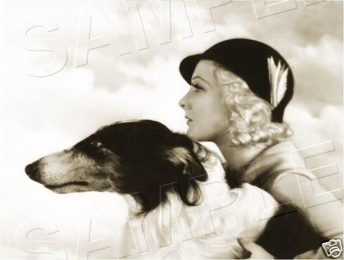1930s WOMAN BORZOI RUSSIAN WOLFHOUND *CANVAS* ART PRINT