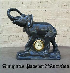 Fiable B20140764 - Grand éléphant En Faïence Avec Horloge ( Ne Fonctionne Pas ) PréVenir Et GuéRir Les Maladies