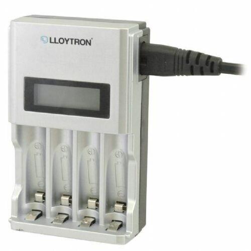 Lloytron LCD Inteligente Cargador De Batería AA o AAA Ni-MH o Ni-Cd