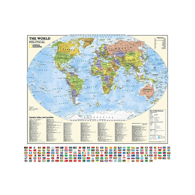 HOT NEW 24X36 WITH WORLD FLAGS WORLD MAP POSTER II